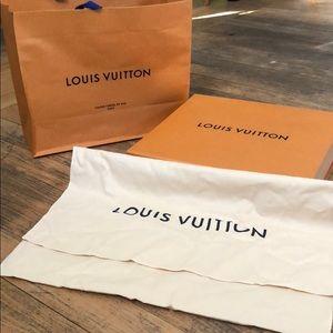 Louis Vuitton dust bag, box and shopping bag